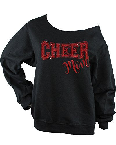 Cheer Mom GLITTER Unisex Raw Edge Off Shoulder Sweatshirt (Small, Black-Red Glitter)