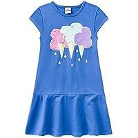 Vestido Infantil de Malha Sorvete com Pelos Azul - Brandili