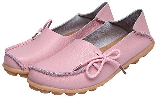 WENN FÜHLEN Frauen Flats Leder Driving Loafer Schuhe Rosa-2