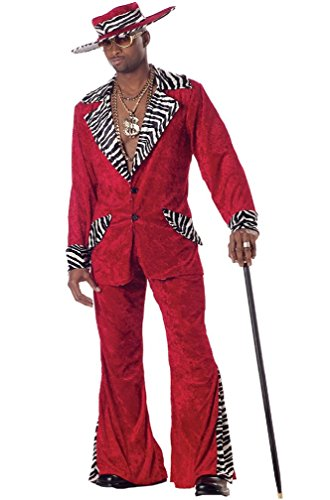 [8eighteen 70s & 80s Sweet Daddy Pimp Mens Adult Halloween Costume] (Vintage Halloween Costumes From The 80s)