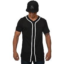 YoungLA Baseball Jersey Plain Shirts for Men Button Down Sports Tee Made w/Soft Cotton