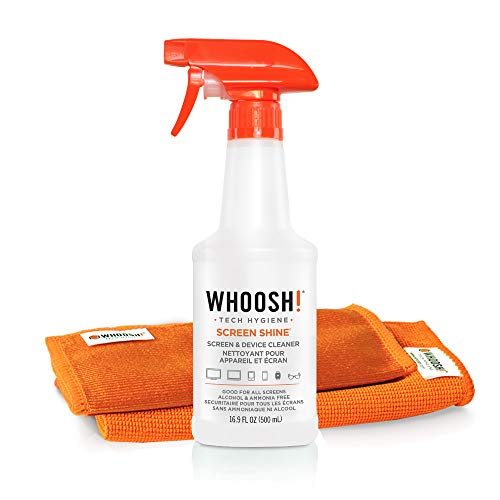 WHOOSH! Screen Cleaner Kit - Best for Smartphones, iPads, Eyeglasses, Kindle, Touchscreen & TVs - Includes 1 Unit of 500ml/16.9 fl oz (14x14) W! Cloth + Bonus (6x6) W!Cloth - Amazon Pack
