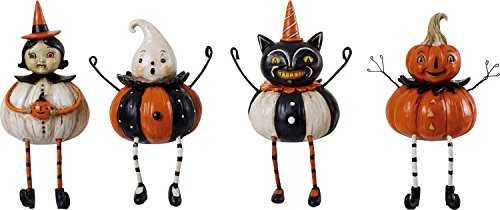 Halloween Vintage Pumpkin-Shaped Figures Shelf Sitter Decoration, Set of 4 -
