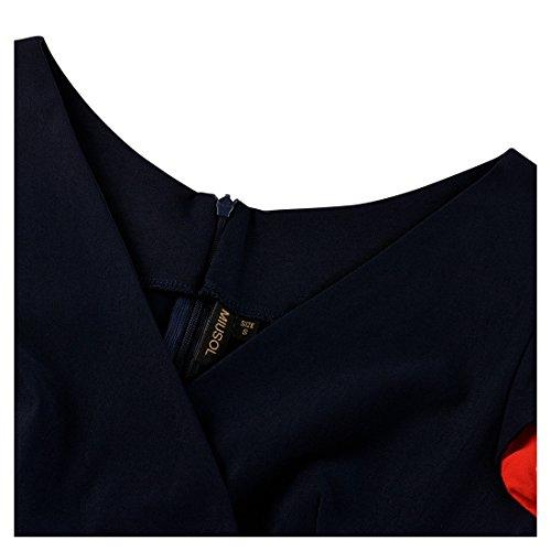 Miusol Vestidos Ropa De Mujer Verano Vintage Deep V-Neck Casual Coctel Fiesta Para Cortos De Noche Ropa Vestidos Azul