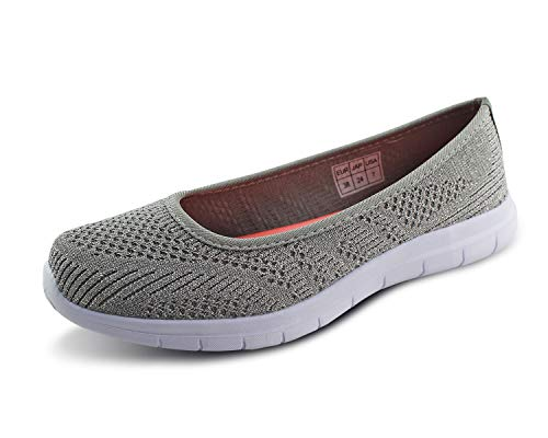 Jabasic Women Slip On Loafers Breathable Knit Flat Walking Shoes (Silver,9)