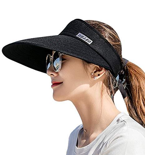 Sun Visor Hats for Women, Large Brim UV Protection Summer Beach Cap, 5.5''Wide Brim (Black) ()