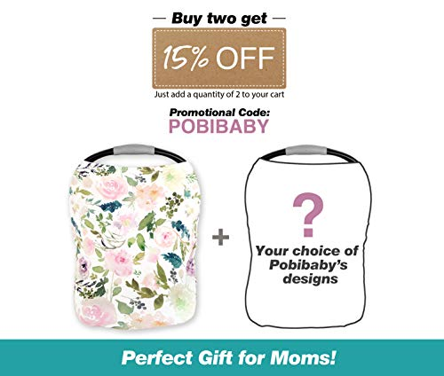 Premium Soft, Stretchy, and Spacious 4 in 1 Multi-Use Cover for Nursing, Baby Car Seat, Stroller, Scarf, and Shopping Cart - Best Gifts by Pobibaby (Allure) by Pobibaby (Image #6)