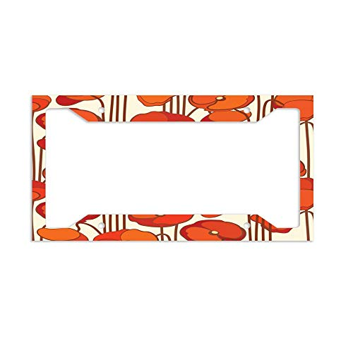luckmx License Plate Frame for US and Canada 4 Holes and Screws-Beautiful Red Poppies -