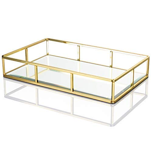 (Display4top Tray Mirror,Decorative Countertop Organizer,Vintage Gold Mirrored Glass Metal Tray Ornate Tray Jewelry Perfume Organizer Makeup Tray for Vanity,Dresser,Bathroom,Bedroom(12