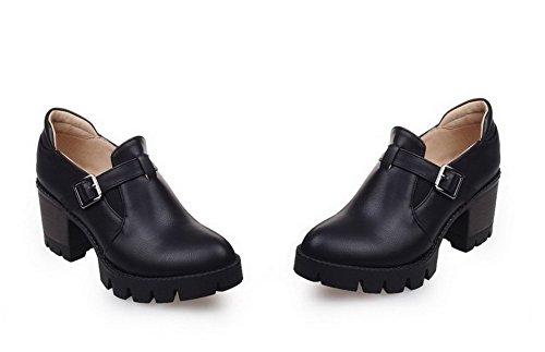 AgooLar Damen Ziehen auf PU Rund Zehe Rein Mittler Absatz Pumps Schuhe Schwarz