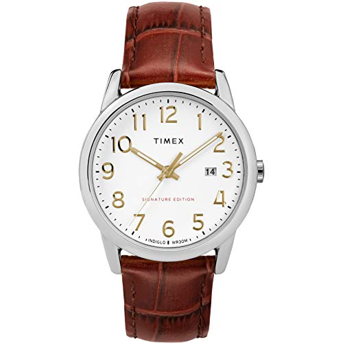 Timex Men's TW2R65000 Easy Reader Signature 38mm Brown/Silver-Tone Leather Strap Watch from Timex