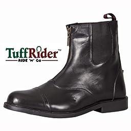 TuffRider Men\'s Barouque Front Zip Paddock Boots with Metal Zipper, Black, 12
