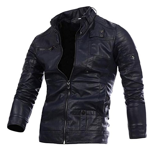 GAGA Men's Stand Collar Front-Zip Motorcycle Leather Jacket Navy Blue S - Collar Zip Front Leather Jacket