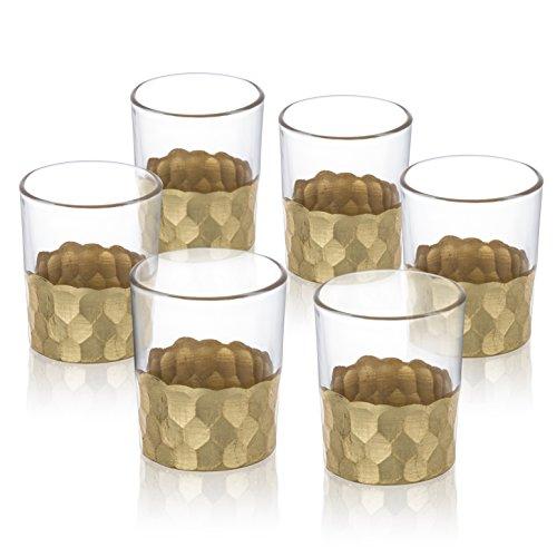 Shot Set Tall Glass (Jay Imports Daphne Gold Shot Glasses, Set of 6)