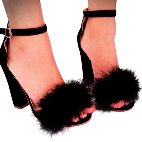 Transer® Damen Keilabsatz Peep-Toe Sandalen mit Künstliches-Feder Herde+Gummi Ankle-wrap Mode Sandalen Gr.34-43 Schwarz