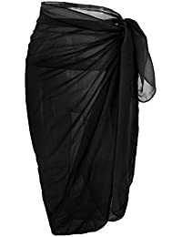 Womens Swimwear Chiffon Cover up Solid Color Beach Sarong Swimsuit Wrap