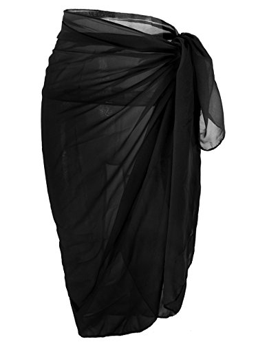 Ayliss Womens Swimwear Chiffon Cover up Solid Color Beach Sarong Swimsuit - Swimwear Black For Women
