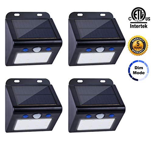 TT Solar Lights Outdoor, 2 Optional Modes Solar Motion Sensor Security Lights IP65 Waterproof Wireless Solar Powered Lights with Wide Angle Solar Wall Lights for Garden, Patio, Yard, Fence 4 Pack