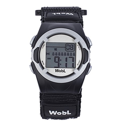 WobL (Black) Vibrating Reminder Watch | 8 Alarm