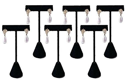 Velvet Earring Stand (T- Shape Style Earring Display Black Velvet 4.75