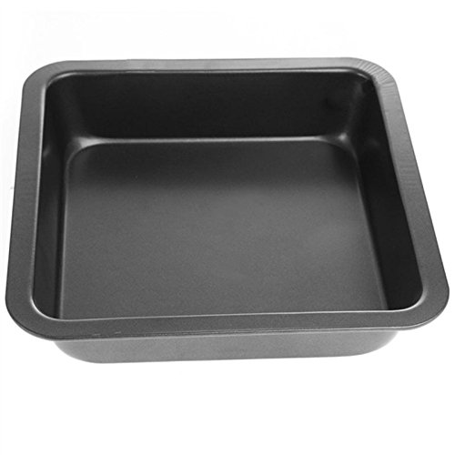 KCASA KC-OP02 8 Inches Stainless Steel Non-stick Square Pizza Cake Mold Bread Cookie Tray Oven Pan (Black)