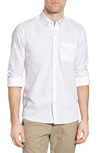 Michael Bastian Men's Long Sleeve Cotton Dobby Shirt, Bright White M from Michael Bastian