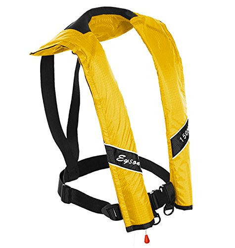 Eyson Slim and Neckline Comfortable Inflate Inflatable PFD Survival Aid Sailing Life Jacket Vest Universal Adult Manual (Yellow) - Inflatable Pfd Vest