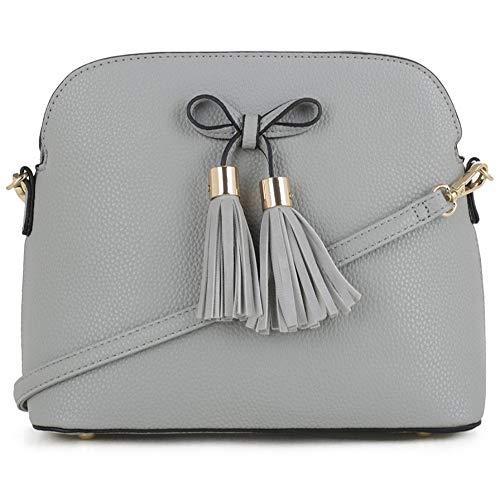 SG SUGU Lightweight Medium Crossbody Bag   Bow Tassel Zipper Pocket   Adjustable and Removable Strap   LGY