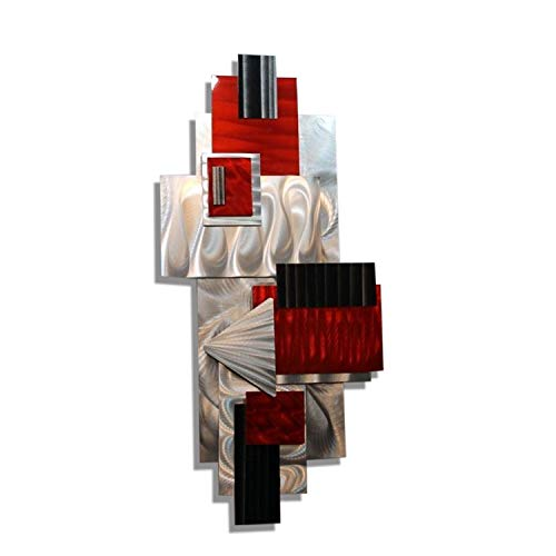 Statements2000 Silver, Red, Black Geometric Abstract Wall Sculpture - Modern Metal Art - Contemporary Home Accent Decor Hanging Office Art - Red Bird by Jon ()