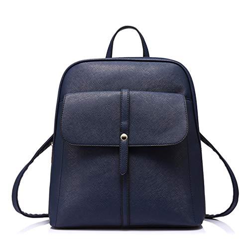 Bag For Women Daypack Backpacks Shoulder Preppy Girls Blue Dark Female Teenage Schoolbags Pu Leather wAS8RqB