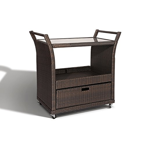 Ulax furniture Outdoor Patio Wicker Serving Bar Cart in Brown from Ulax furniture