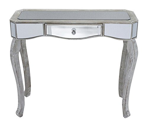 Heather Ann Creations W192154-WW 30.7'' White Wash Katrina Collection Console Living Room Office Writing Table with Drawer and Mirror Accents by Heather Ann Creations