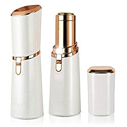 Veru ETERNITY Women Hair Remover Painless Lipstick Shaver for Face,Hand, Armpit, Leg and Bikini,Portable Battery Powered Trimmers for Home and Travel,Built-in LED Light,Milky White/Rose Gold