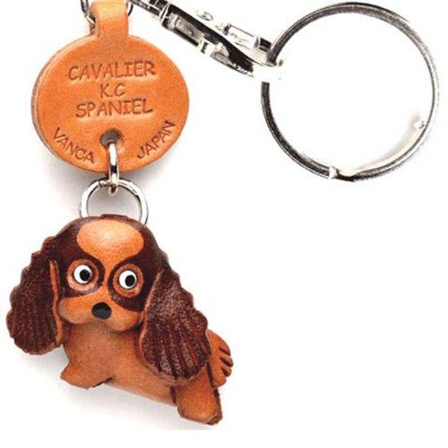 キャバリエk.c. Spanielレザー犬小さなキーチェーンVANCA craft-collectibleキーリングチャームペンダント日本製 B008DPZCF2