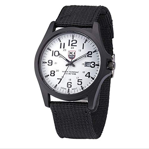 Trendy Simple Men Military Watch Canvas with Casual Sports Quartz Watch Round Dial Quartz Watches Exquisite Workmanship Unique's(Color:Balck&White)(Size:)