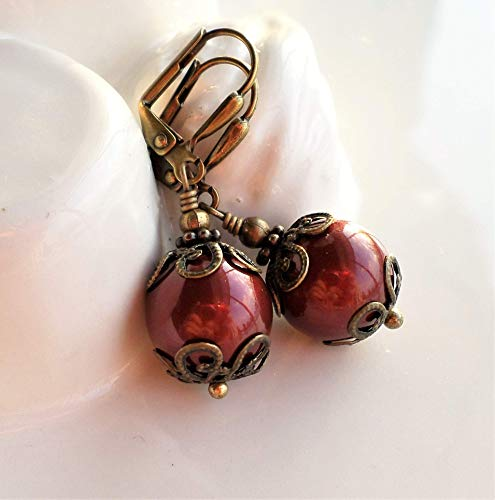 Dark Red Victorian Pearl Earrings with Antique Brass ()