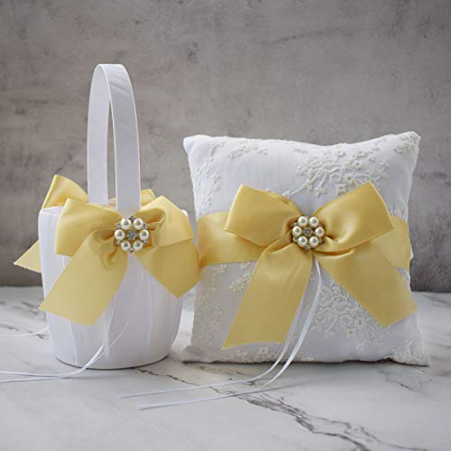 ATAILOVE Wedding Flower Girl Basket and Ring Bearer Set,Satin Bow Lace Rhinestone Collection (Yellow)
