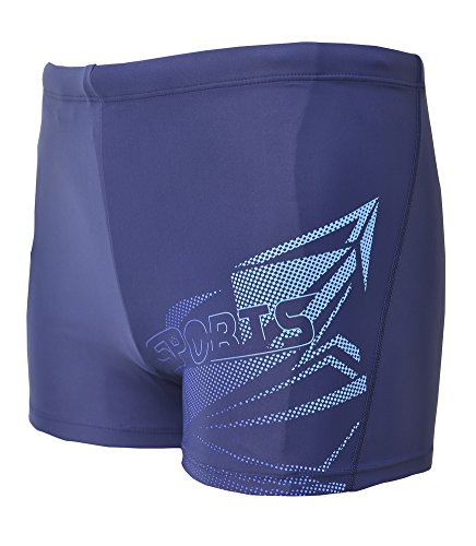 Vocni Men's Solid Fashion Jammer Rapid Quick Dry Square Leg Swimsuit Swimwear For Men,Dark Blue_03,Medium (Waist 30