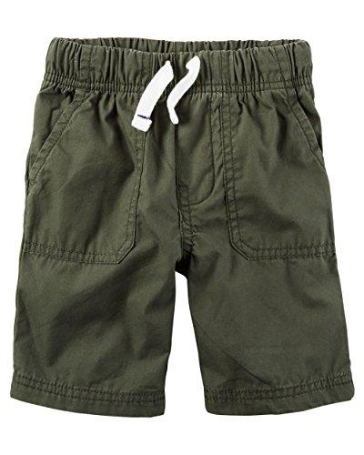 Carter's Boys' Poplin Pull-on Drawcord Shorts with Pork Chop Pockets; Olive - Pocket Pork Chop