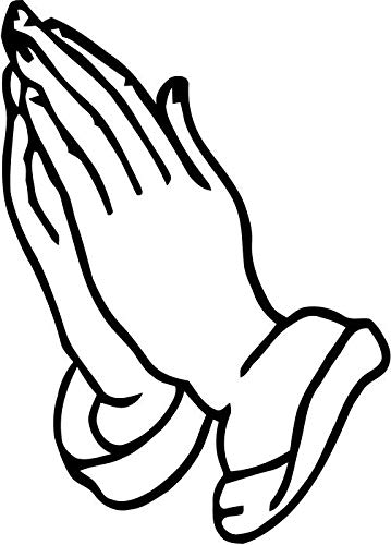 (BEARGRAPHIX Praying Hands Decal Sticker Car Motorcycle Truck Bumper Window Laptop Wall Décor Size- 10 Inch Tall Gloss Black Color)