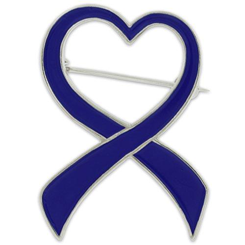 PinMart Blue Heart Awareness Ribbon Enamel Brooch Pin