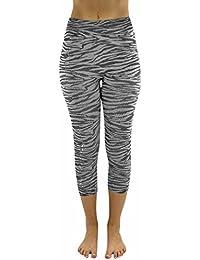 Zebra Stripe Capri Crop Stretchy Leggings