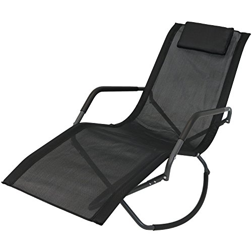 Sunnydaze Rocking Chaise Lounge Chair with Headrest Pillow, Outdoor Folding Patio Lounger, Black