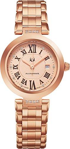 Alexander Monarch Niki Date DIAMOND Silver Large Face Watch For Women – Swiss Quartz Rose Gold Plated Elegant Ladies Fashion Designer Dress Watch AD203B-05