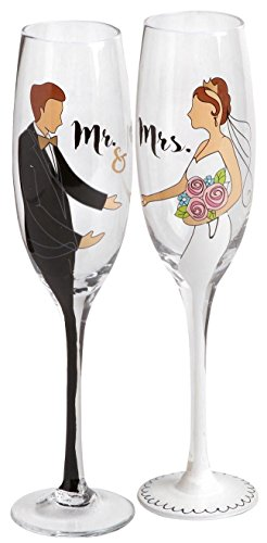 """Mr. and Mrs."" Hand-Painted Bride and Groom Wedding Flutes Champagne Glasses, Set of (Hand Painted Wedding Toasting Flutes)"