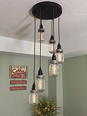 """Mason Jar Chandelier, 6 Strand Spiral, 12"""" Oil Rubbed Bronze Canopy with Brown Twisted Cloth Covered Cord"""
