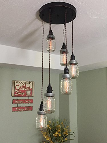 Mason Jar Chandelier, 6 Strand Spiral, 12 Oil Rubbed Bronze Canopy with Brown Twisted Cloth Covered Cord