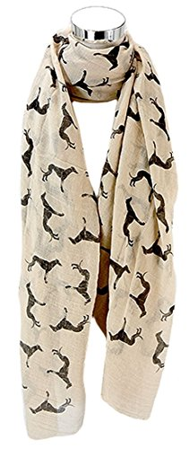 Kukubird Greyhound Dog Print Frayed Cotton Scarf / Shawl / Wrap / Pashmina - Beige