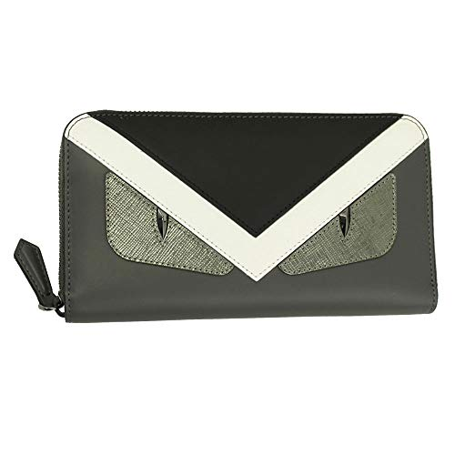 (Fendi Bugs Eye Gray leather Zip Around Long Wallet 7M0210 8FJ)