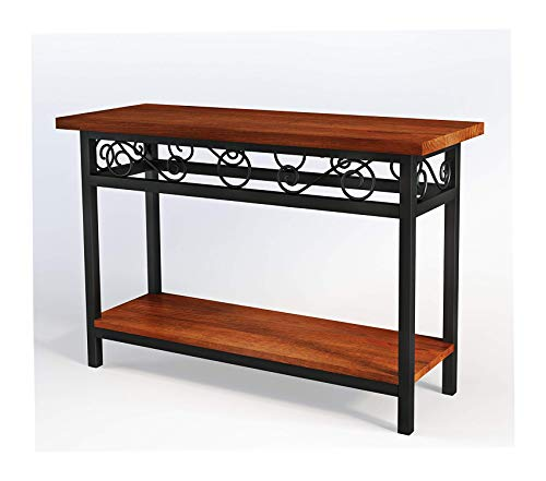Аlаtеrrе Deluxe Premium Collection Scroll Wood and Metal Scrollwork Chestnut Finish Top Console Table Decor Comfy Living Furniture